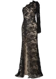 Monique Lhuillier Woman One-shoulder Cotton-blend Chantilly Lace Gown Black