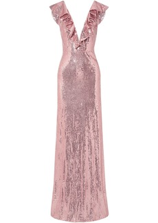 Monique Lhuillier Woman Ruffle-trimmed Sequined Crepe Gown Pink
