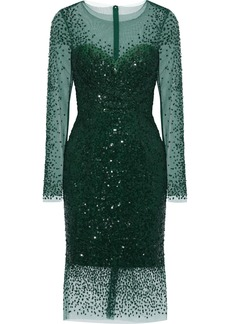 Monique Lhuillier Woman Sequined Tulle Dress Emerald