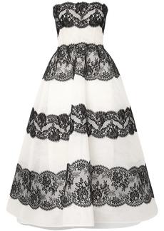Monique Lhuillier Woman Strapless Lace-paneled Point D'esprit Tulle Gown Black
