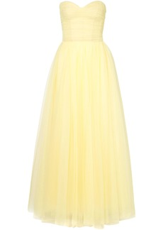 Monique Lhuillier Woman Strapless Ruched Tulle Gown Pastel Yellow