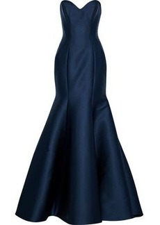 Monique Lhuillier Woman Strapless Silk-duchesse Satin Gown Midnight Blue