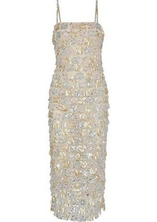 Monique Lhuillier Woman Tiered Sequin-embellished Tulle Midi Dress Metallic