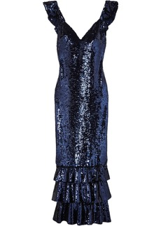 Monique Lhuillier Woman Tiered Sequined Mesh Gown Indigo