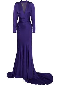 Monique Lhuillier Woman Tulle-paneled Satin Gown Dark Purple