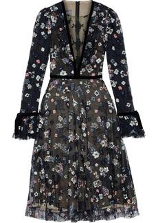 Monique Lhuillier Woman Velvet-trimmed Embroidered Tulle Midi Dress Black