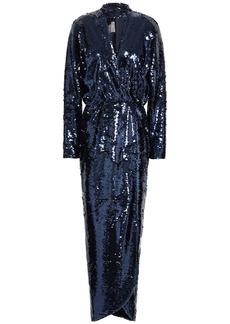 Monique Lhuillier Woman Wrap-effect Cutout Sequined Tulle Gown Royal Blue