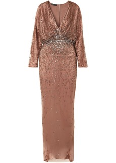 Monique Lhuillier Woman Wrap-effect Draped Embellished Tulle And Silk-satin Gown Antique Rose