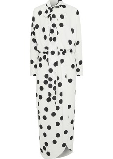 Monique Lhuillier Woman Wrap-effect Polka-dot Jersey Midi Dress White