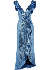 Monique Lhuillier Woman Wrap-effect Ruffle-trimmed Sequined Crepe Midi Dress Azure