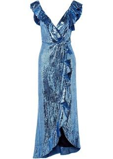 Monique Lhuillier Woman Wrap-effect Ruffle-trimmed Sequined Crepe Midi Dress Azure