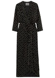 Monique Lhuillier Woman Wrap-effect Velvet-jacquard Gown Black