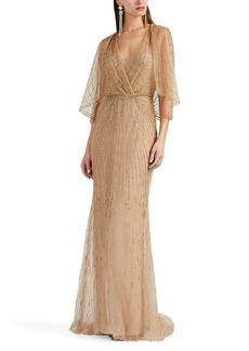 Monique Lhuillier Women's Beaded Tulle Dolman-Sleeve Gown