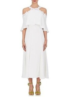 Monique Lhuillier Women's Crepe Cold-Shoulder Midi-Dress