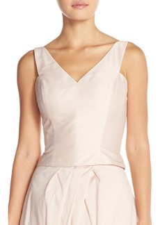 Monique Lhuillier Bridesmaids Taffeta V-Neck Top
