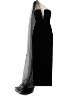 Monique Lhuillier One-shoulder Crystal-embellished Tulle And Velvet Gown