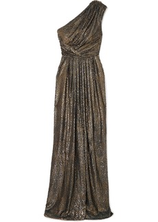 Monique Lhuillier One-shoulder Draped Metallic Fil Coupé Chiffon Gown