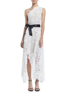 Monique Lhuillier One-Shoulder Faux-Wrap Floral Corded Lace Cocktail Dress