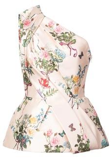 Monique Lhuillier one-shoulder floral print blouse