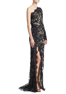 Monique Lhuillier One-Shoulder Long-Sleeve Lace Side Slit Gown