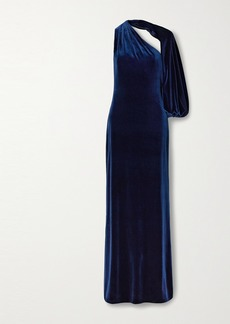 Monique Lhuillier One-sleeve Velvet Gown