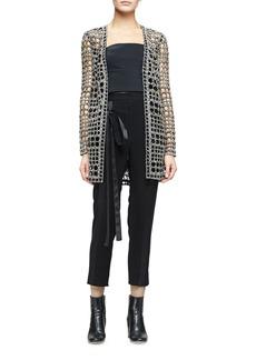 Monique Lhuillier Open-Weave Long Cardigan