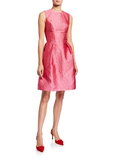 Monique Lhuillier Palm Jacquard Taffeta Dress
