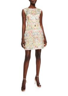 Monique Lhuillier Paradise Print 3/4-Sleeve Dress