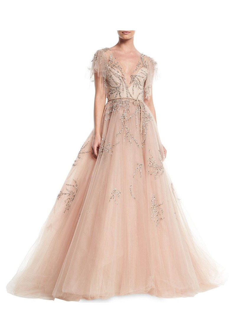 Monique Lhuillier Plunging Cap-Sleeve Embellished Tulle Evening Ball ...