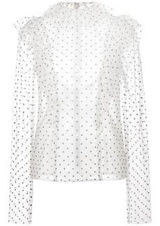 Monique Lhuillier polka dot ruffle blouse