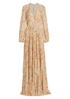 ML Monique Lhuillier Printed Chiffon Maxi Dress