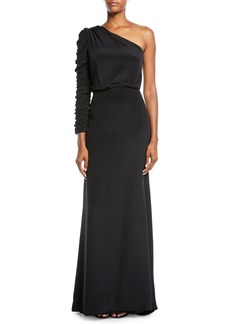 Monique Lhuillier Ruched Long-Sleeve A-Line Crepe Evening Gown