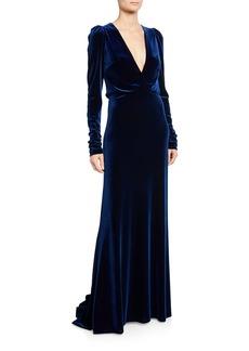 Monique Lhuillier Ruched Velour Faux-Wrap Gown