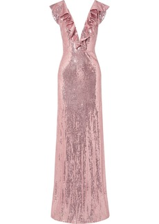 Monique Lhuillier Ruffled Sequined Crepe Gown