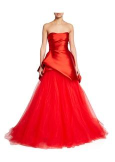 Monique Lhuillier Satin & Tulle Strapless Asymmetric Gown