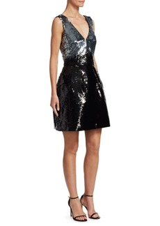 Monique Lhuillier Sequin A-Line Dress