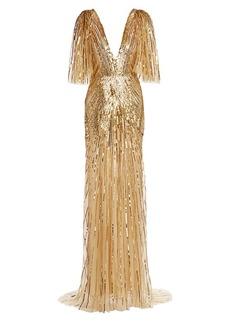 Monique Lhuillier Sequin-Embellished Gown