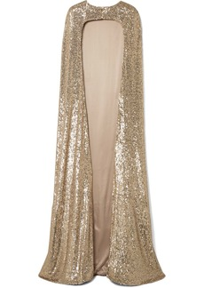 Monique Lhuillier Sequined Silk-blend Satin Cape