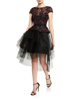 Monique Lhuillier Sequined Tulle Fit & Flare Dress