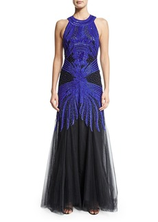Monique Lhuillier Sleeveless Embroidered Racerback Gown