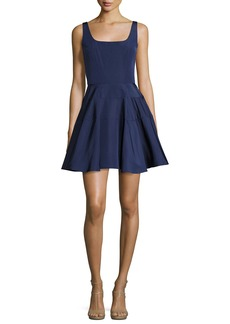 Monique Lhuillier Sleeveless Silk Faille Fit & Flare Dress
