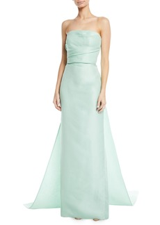 Monique Lhuillier Strapless Column Gazar Evening Gown w/ Train