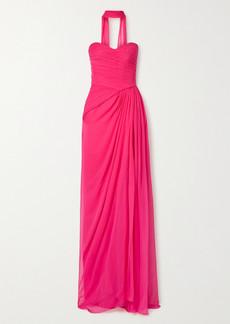 Monique Lhuillier Strapless Draped Silk-chiffon Gown