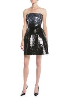 Monique Lhuillier Strapless Fit-and-Flare Ombre Sequin Cocktail Mini Dress