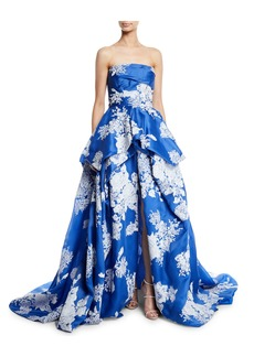 Monique Lhuillier Strapless Hand-Tufted Floral-Print Organza Ball Gown