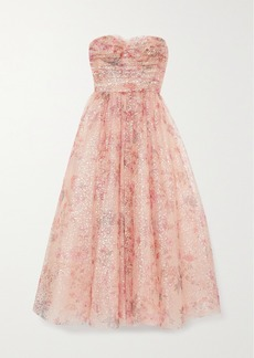 Monique Lhuillier Strapless Metallic Floral-print Tulle Gown