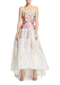 Monique Lhuillier Strapless Rose-Print Cloque Gown