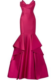 Monique Lhuillier Strapless Satin Gown