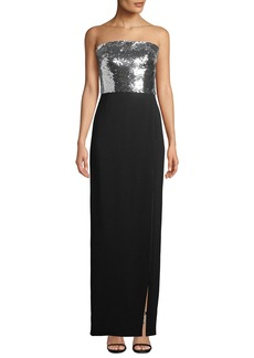 Monique Lhuillier Strapless Sequin-Bodice Crepe Column Evening Gown w/ Slit