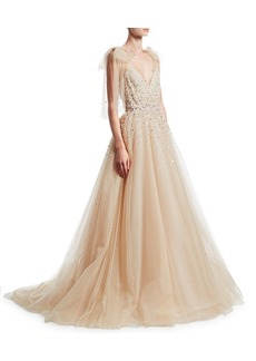 Monique Lhuillier Ombré One-Shoulder Gown